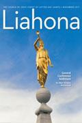 Omslag till Liahona Staty av Moroni som blåser trumpet