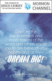 Don't let the low standards and expectations of the world and others cause you to aim beneath your nobility and ability—Dream big! —Robert D. Hales